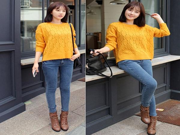 phối đồ với áo len với quần jeans