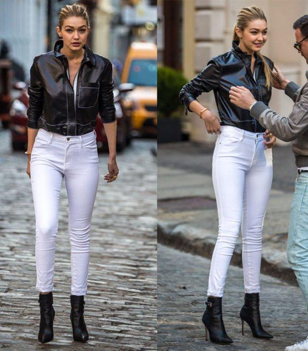 phối đồ với quần jeans trắng với áo tối màu