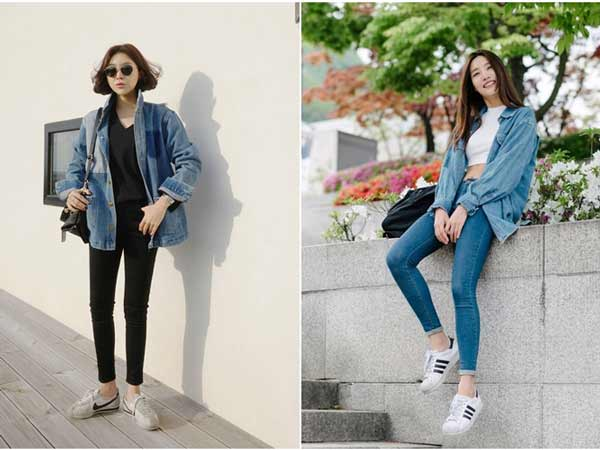 Phối áo khoác jean cùng áo phông