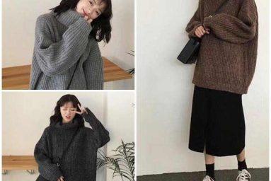 Phối áo len cùng chân váy