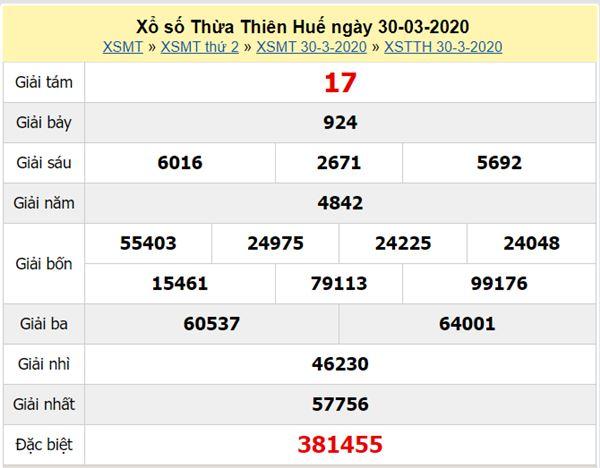 Soi cầu XSTTH 27/4/2020 - KQXS Thừa Thiên Huế thứ 2