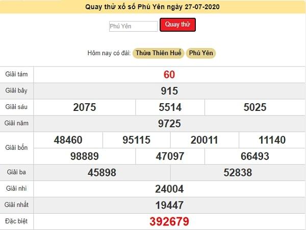 Quay thử xổ số Phú Yên chiều nay ngày 27 tháng 7 năm 2020