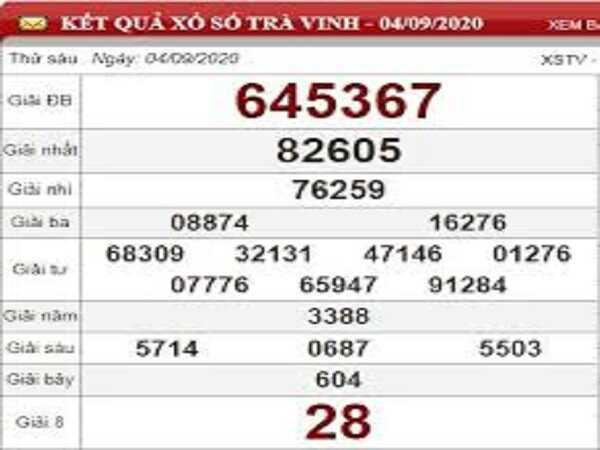 Thống kê KQXSTV- xổ số trà vinh thứ 6 ngày 11/09/2020 chắc trúng